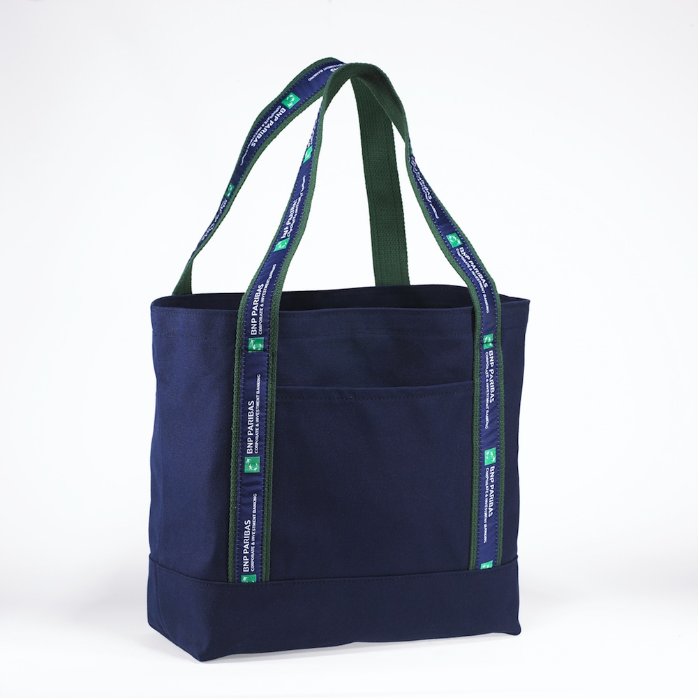 BNP Paribas Bespoke Ribbon Handle Blue Tote
