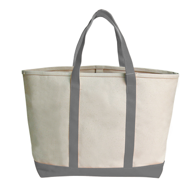 Style #1350: Large boat tote made of 26-oz cotton canvas, hanging interior zipper pocket, silver D-ring. Available in with various colored handles.