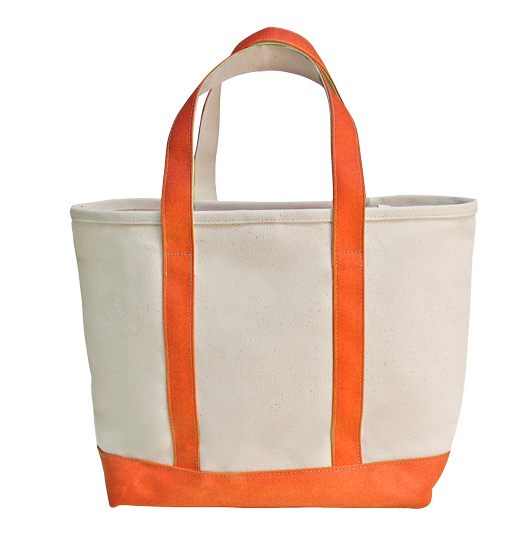 Style #1340: Canvas medium boat tote made of 26-oz cotton canvas, hanging interior zipper pocket, silver D-ring. Available with various colored handles.