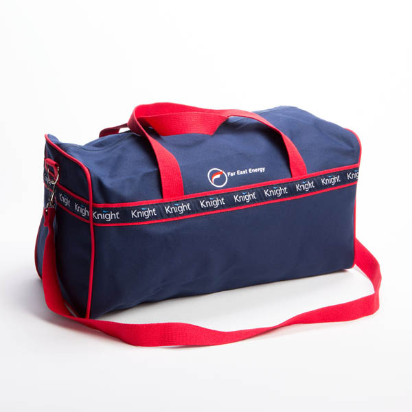 Style #2090: Square BankerBag duffel made of 18-oz cotton canvas with custom woven ribbon, embroidered logo and adjustable/removeable shoulder strap. Made in USA.