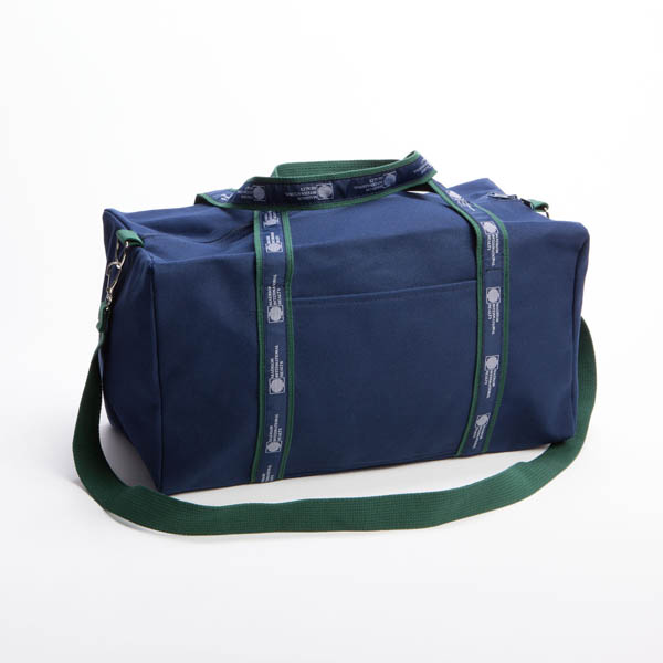 Style #2150: Square BankerBag duffel made of 18-oz cotton canvas with custom woven ribbon handles, front pocket and adjustable/removeable shoulder strap. Made in USA.
