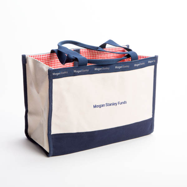 Style #1050: BankerBag box tote made of 18-oz cotton canvas with flat bottom construction and custom fabric lining. Made in USA.