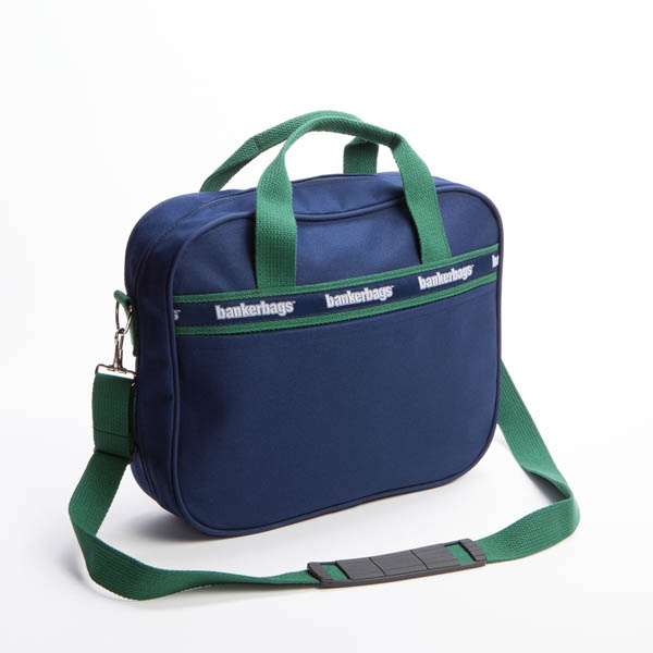 Style #3030: BankerBag laptop bag made of 18-oz cotton canvas with custom woven ribbon details. Made in USA.