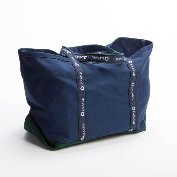Style #1000: Traditional BankerBag tote made of 18-oz canvas with custom woven ribbon handles. Made in USA.