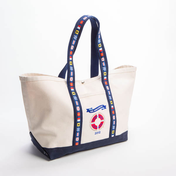 BankerBag tote made of heavyweight canvas with nautical styling and snap closure. Made in USA