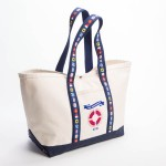 Style #0000: BankerBag tote made of heavyweight canvas with nautical styling and snap closure. Made in USA