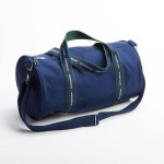 Style #2000: Classic BankerBag duffel made of 18-oz cotton canvas with custom woven ribbon handles, front pocket and adjustable/removeable shoulder strap. Made in USA.