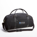Style #2110: Executive BankerBag duffel made of 18-oz cotton canvas with leather handles and embroidered logo on front pocket. Made in USA.