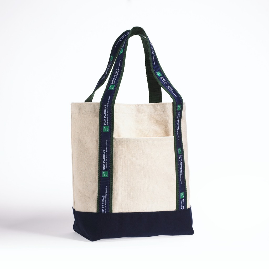 White Tote Blue and Green handles