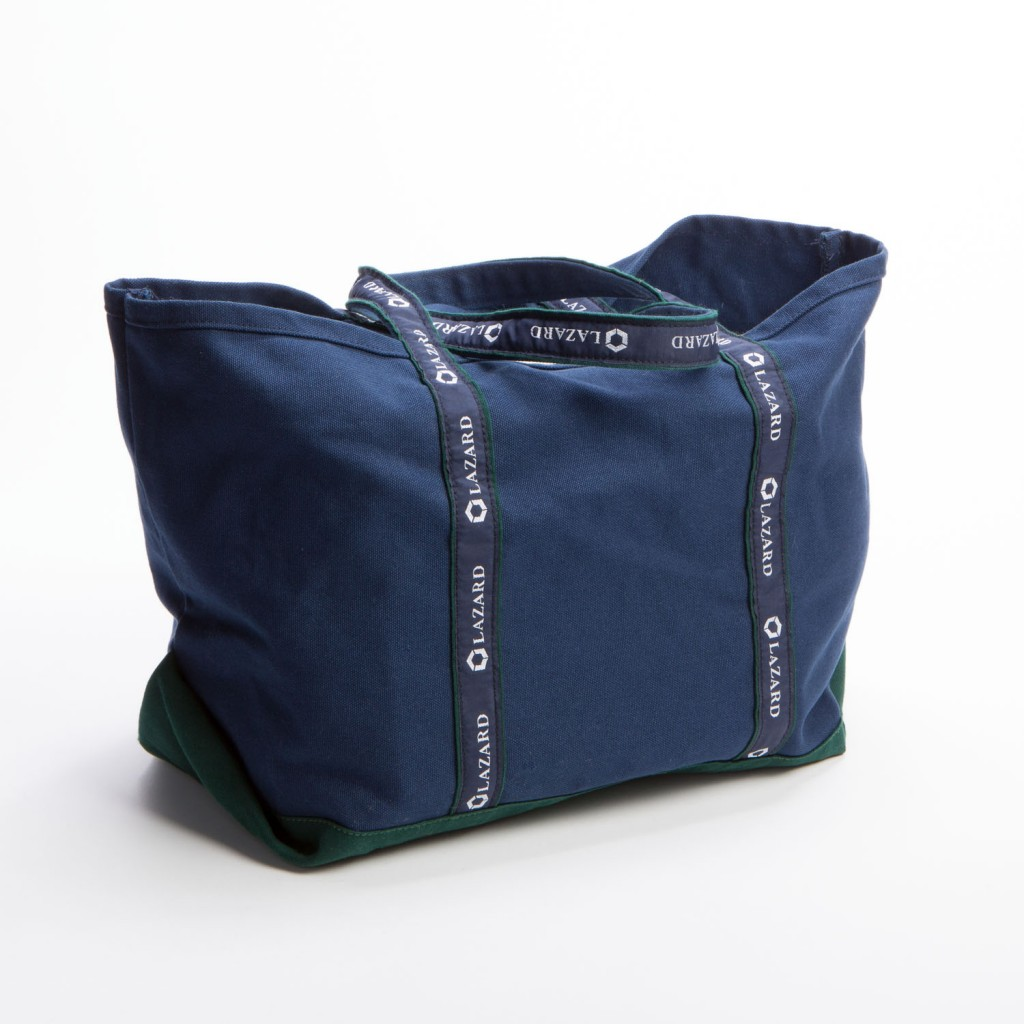 Blue On Blue BankerBag Tote With Ribbon Handles